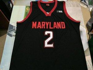 Günstige # 2 Melo TRIMBLE JERSEY MARY Terrapins Throwbacks College-Basketball-Trikots Männer genähtes Rote weiße schwarze Jersey