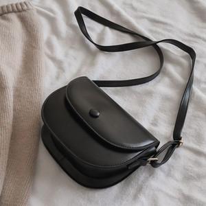 Summer new women's Saddle bag cute South Korea Ulzzang PU slung Vintage pure color casual fashion shoulder bags