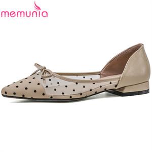 MEMUNIA 2020 heißen Verkauf Mesh + echte Leder Schuhe Damen spitzer Zehe Bowknotfrühling Sommer bequeme beiläufige flache Schuhe der Frauen