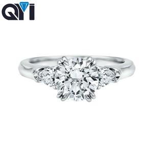 QYI 2 карат Круглый Cut 925 Серебрянные кольца женщин способа ювелирных изделий Обручальное Циркон Женский Свадьба Finger цветок Кольца подарков