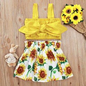 Fashion black friday girl's Hot Sale 2pcs Set Newborn Girl Clothes Cute Big Bow Vest Tops Flower Skirt Baby Summer Beach Streetwear