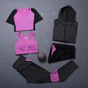 19-20 Mujeres \ 's Yoga Set de ropa deportiva al Gimnasio, Ropa Running Tenis camisa + pantalones de yoga pantalones de jogging entrenamiento del deporte Traje qgyO #