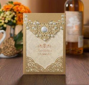 Wedding Invitation Romantic Elegant Card Favor Gold Wedding Envelopes Floral Decoration Laser Party Luxury Cut Lace Red MMJ2010 aAqKD
