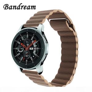 Milanaise boucle Bracelet en cuir 22mm 20 mm pour Samsung Galaxy Montre 46mm 42mm actif Aimant bande de dégagement rapide Bracelet Bracelet Y19052301