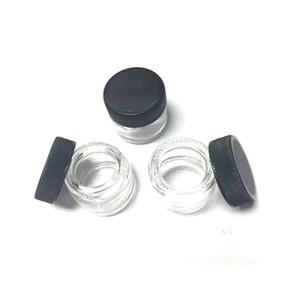 Vaso di vetro 5ml Food Grade antiaderenti antiaderente vetro temperato contenitore di cera vuoto Dab Vasi secco Herb Concentrato Contenitore con coperchio nero
