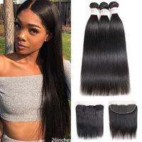 New Brazilian Hair Weaves Bundles With Closure Straight Bundles With 4x4 Lace Closure Preplucked With Baby Hair for Women Beau hair