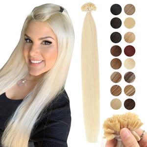 MRSHAIR queratina prego U Dica extensões do cabelo da fusão Human Hair Extension Pré Bonded Capsule Non Remy Hetero 1 g / pc 16 20 24 Inch