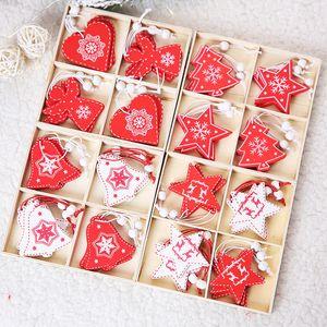 Weihnachten hölzerne hängende Elk Bell-Schneeflocke Weihnachtsbaum Engel aus Holz geformt Hanging Anhänger Weihnachtsbaum Fenster Dekoration Hängen