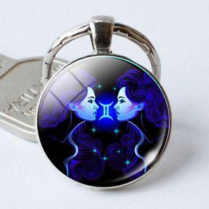 Zodiac Sign Keychain 12 Constellation Leo Virgo Libra Scorpio Sagittarius Pendant Double Face Keyring