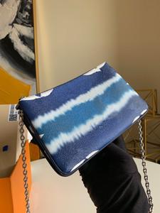 Qualität ESCALE POCHETTE DOUBLE ZIP Sommer 2020 Kollektion Frauen-Krawatten-Riesen Leinwand Silberkette 2 Reißverschlusstaschen Versatile Pouch
