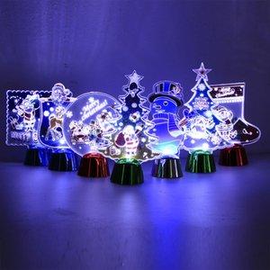 화려한 3D 밤 빛 만화 크리스마스 LED 램프 크리스마스 장식 홈 새해 선물 빛나는 크리스탈 볼