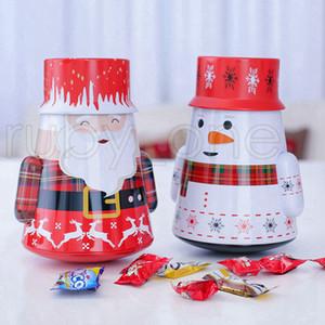 Noel Demir Şeker Kutusu Hediye Teneke Kutu Çocuk Posta Kutusu Vaka Noel Noel Baba Snowman Baskılı Mühürlü Kavanoz Kutuları Dekorasyon RRA3471 Paketleme
