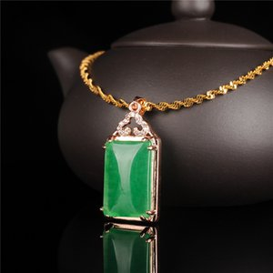 Myanmar Jadeite PENDANT BRAND Emerald Ice Waxy Men's and Women's A Goods 18K Gold Wool Clothes Chain Pendant