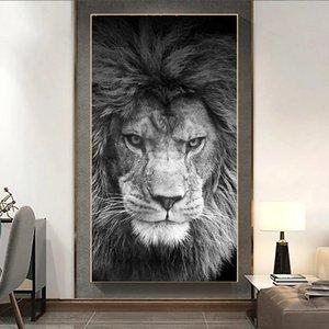 Afrika Aslan Vahşi Hayvan Tuval Siyah Beyaz Posterler Boyama ve Baskılar Cuadros Wall Art Resim Salon Ev Dekorasyonu için