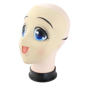 Olhos grandes menina completa Rosto Latex Máscara Metade de Cabeça Kigurumi Máscara de banda desenhada Cosplay Anime japonês Papel Lolita Máscara Crossdress boneca