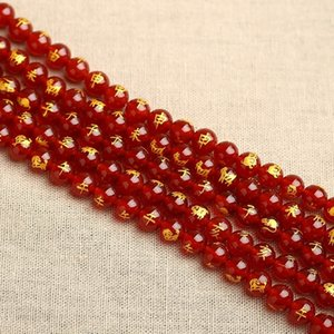 Diy Achat zwölf Achat Vergoldung rote Perlen rund halbfertigen Natur Vergoldung Schriftzug lose Tierkreis-DIY Perlen qoA5H