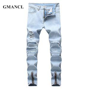 GMANCL Street Hip-Hop-Stil Männer Destoryed Biker Jeans Zerrissene dünne beiläufige Männer gefaltete Baumwolljogginghose Jeans-Hose MX200814