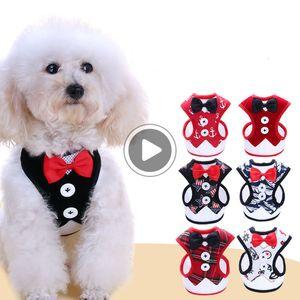 Fato do cão New Small Dog Vestido bowknot Colete Harness trelas Set Walking Dog Pet Shop Drop Ship Scott WYMZ