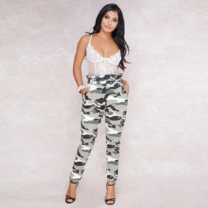 Pantolon İlkbahar Yaz Günlük Moda Kadın Pantolon Kamuflaj Baskı Tasarımcı Pantolon Kadınlar Yüksek Bel Spor Gevşek Kalem