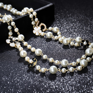 Moda a lungo simulata borda la collana di perle per la collana Lunghe Donna Camelia maxi collana Wedding Party Collane Donne No.5 Double Layer