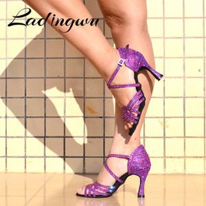 Ladingwu Femmes Salsa Parti Chaussures Chaussures de danse latine Chaussures de danse latine Grand Petit strass Shining Purple Black Flash Cuban Heel 6-10cm