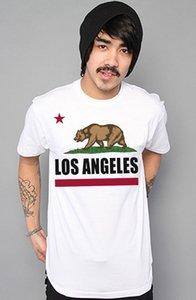 Bear Flag vie Cali Socal Los Angeles Californie République Ville LA T-shirt blanc