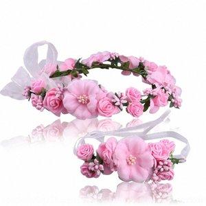 Brauthaar Meer Tanz Armband Blume Kopfschmuck Performance Zubehör Urlaub Simulation Kranz Armband-Kopfschmuck-Set QrNgf