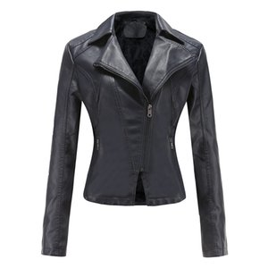 Women's Pu Leather Fashion Jackets Autumn Winter Stand Collar Zipper Solid Short Coats Women Button Short Suit Faux Leathers A104