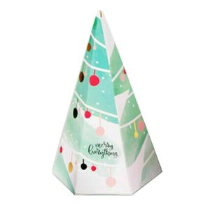 10pcs Christmas Triangular Pyramid Candy Box Gifts Box for Candy Cookie Christmas Party Supplies for Kids
