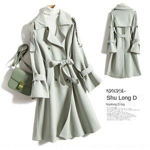 z1R63 2020 del resorte de lana de lana de lana a cuadros de aves espesa capa nueva capa mitad de la longitud de Corea de lana 4049