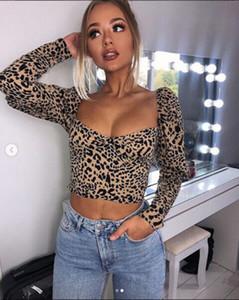 Sexy vestiti delle donne scollo Leopard Print T-shirt Crop Tops maniche lunghe aderente maglietta Clubwear Outwear cotone caldo