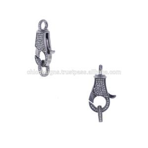 Jóias e acessórios 925 Apreciação Sterling Silver Diamond Pave Primavera fecho de bloqueio