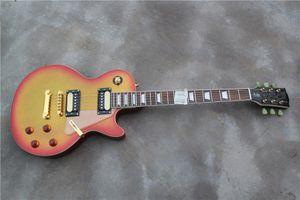 Ücretsiz Kargo Standart Kiraz Sunburst Gitar, Gümüş Toz Parçacıklar Boya, Altın Donanım, Maun Boyun, Akrilik Pickguard, HH Pickup