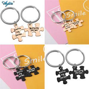 Ayliss alliage Puzzle Porte-clés avec la lettre que tu es ma personne porte-clés mignon Porte-clés Porte Couple Lovers BBF meilleur ami Keychain
