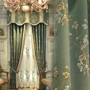 European French American Villa Living Room Bedroom High Precision Silk-like Positioning Jacquard Curtain Cloth