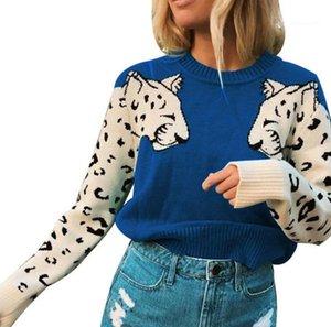 Leopard suéter de moda suéter de manga larga Tops para mujer de diseño femenino remiendo Impreso suéter delgado