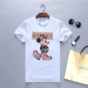 2020 hombres Rampo / Rampo de manga corta camiseta de las letras de la raya blanca arriba abajo camisa de cuello redondo medio camiseta de manga PO028 ropa de moda