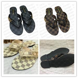 Las mujeres forman PU deslizadores de las sandalias flip-flop de cuero de los holgazanes de los diseñadores Flatform Sandalias de fondo plano zapatos de Roma de baño E31309