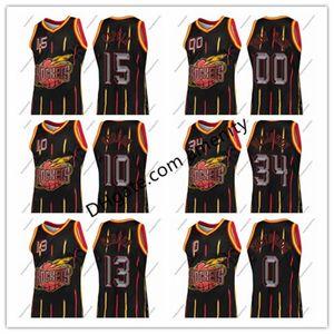 personalizzato HoustonRockets15 Capela 10 Gordon 34 Olajuwon 13 indurisce 0 Westbrook anelli neri raccolta maglia Clint Eric James Russell
