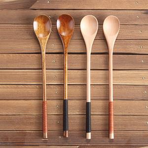 Cucchiaio di legno di grandi dimensioni manici lunghi Spoon bambini cucchiaio di legno Zuppa di riso Dessert Caffè miscelazione Tablewar