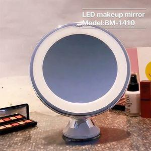 10X de ampliação iluminado espelho de maquiagem - Daylight LED Vanity Mirror - Compact, Cordless, Fecho de sucção, 360 rotação, Iluminado portátil