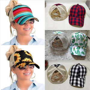Sunflower Ponytail Baseball Cap 8 Styles Criss Cross Washed Cotton Ball Cap Plaid Cactus High Messy Buns Hats DDA497