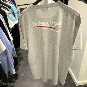 balenciaca Fashion Shirt Mens lettre imprimé 100% coton T-shirts d'été T-shirt homme Garçon Skate Tops Chemises Casual manches courtes