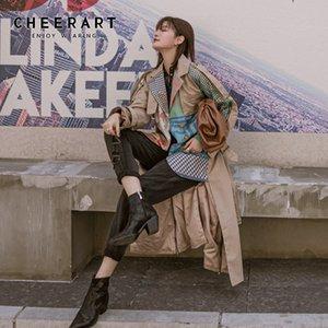 Kadınlar Moda Palto Patchwork Haki Ekose Kemer Coat WINDBREAKER Hendek Femme İçin CHEERART Tasarımcı Uzun Trençkot