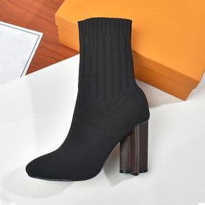 Frühling Herbst elastischen Stiefel Brief Thick heels sexy Frau Schuh-Absatzschuhe Art und Weise Socken Stiefel Dame hohe Absätze Große Größe 35-42 Gestricktes