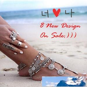 Etnik 1 çift yeni Çingene Antik Tibet Gümüş Türk Para yalınayak Sandals sandbeach düğün gelin Halhal Bilezik zincir Trible