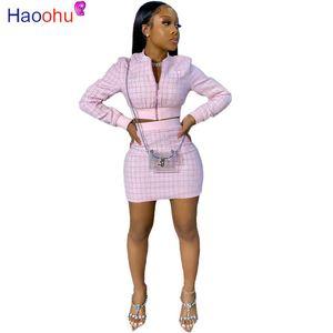 HAOOHU Женщины с длинным рукавом куртки Bodycon мини юбки костюм из двух частей Набор Vintage Matching Set