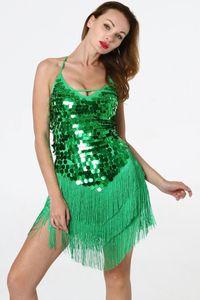 Use América femenina verano de las mujeres Ropa de diseño vestido bodycon atractivas ahuecan hacia fuera la correa de espagueti del color sólido de la borla de la etapa de lentejuelas
