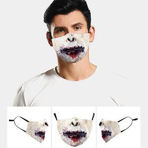 دي إتش إل الحرة الشحن 2020 قناع الوجه مصمم الكبار مذهلة قابل للغسل مضحك ذعر الجمجمة قناع الفم الطباعة الرقمية قناع وقائي