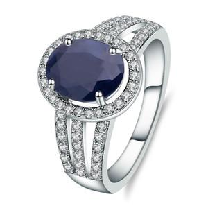 Gem Ballet 2.02Ct naturale zaffiro blu della pietra preziosa di nozze anello di fidanzamento Argento 925 gioielli per le donne